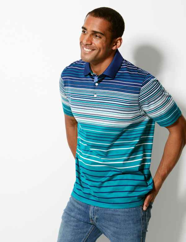 2455ae046 Pure Cotton Striped Polo Shirt. New Lower Price