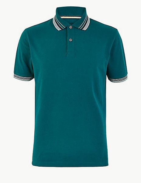 Pure Cotton Tipped Collar Polo Shirt