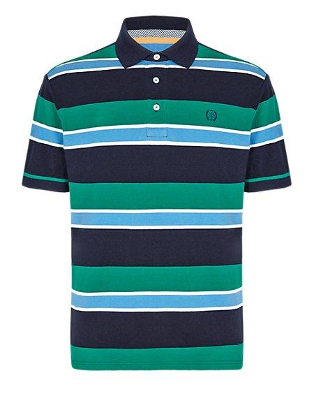 Pure Cotton Tailored Fit Block Striped Piqué Polo Shirt