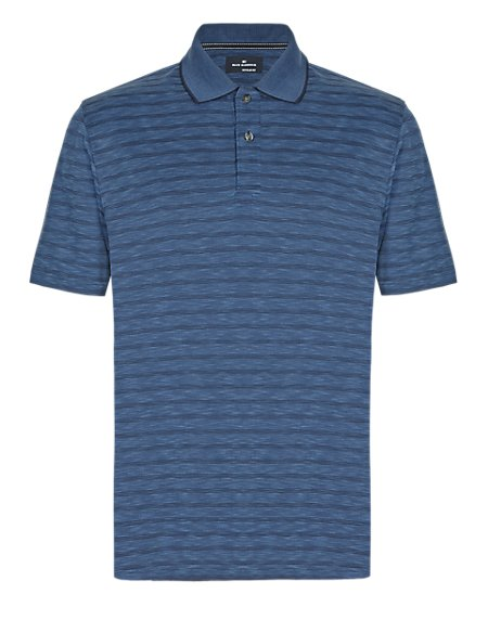 Soft Touch Textured & Striped Polo Shirt with Modal