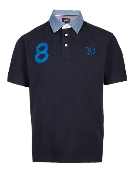 Pure Cotton Slim Fit Sports Polo Shirt