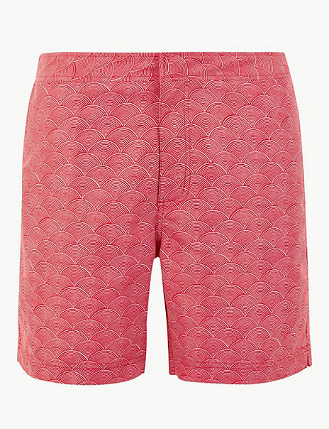 Quick Dry Japanese Wave Print Swim Shorts
