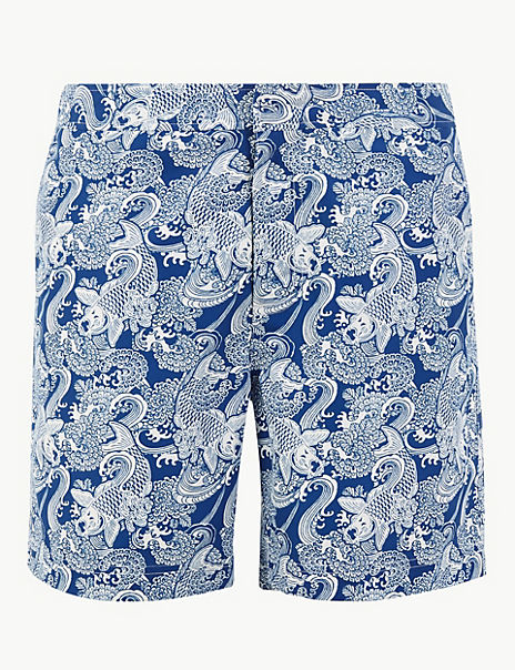 Quick Dry Koi Carp Print Swim Shorts