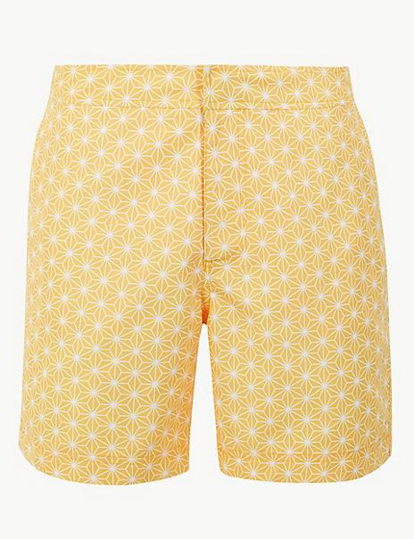 Quick Dry Tile Print Swim Shorts