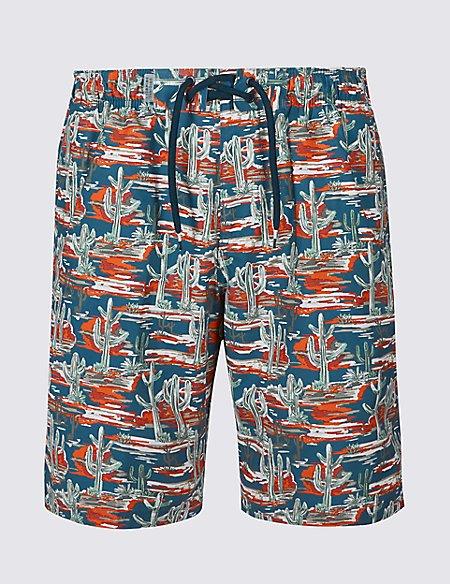 Cactus Print Quick Dry Swim Shorts