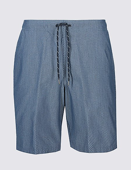 Cotton Rich Checked Quick Dry Swim Shorts