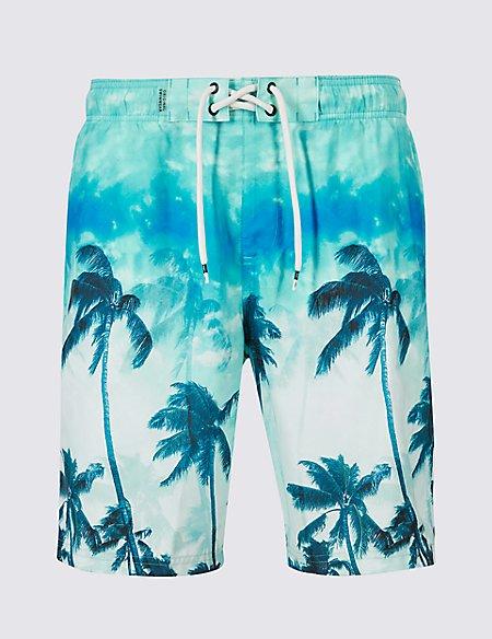 Palm Printed Quick Dry Swim Shorts