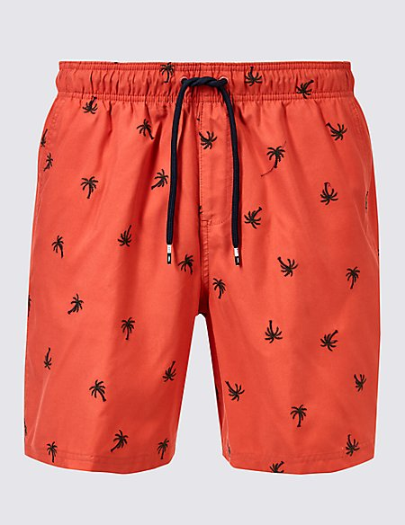 Palm Tree Embroidered Quick Dry Swim Shorts