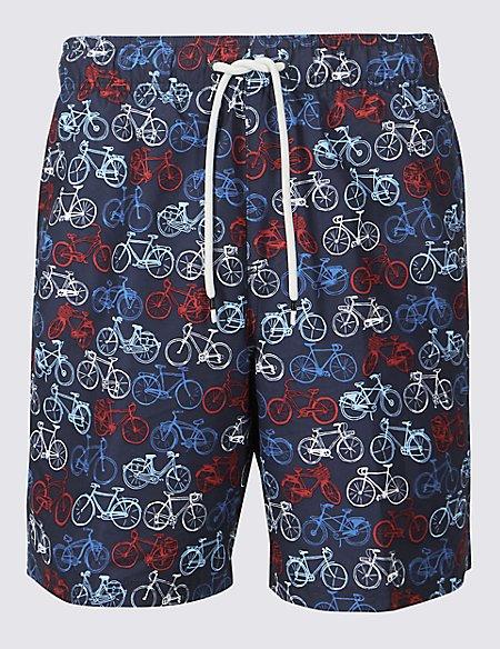 Bike Printed Quick Dry Swim Shorts