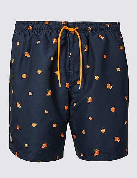 Quick Dry Orange Print Swim Shorts