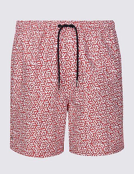 Quick Dry Geometric Print Swim Shorts