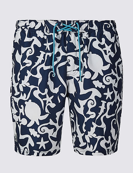Quick Dry Sea Creature Print Swim Shorts