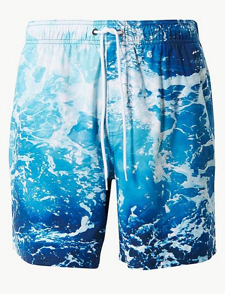 Quick Dry Wave Print Swim Shorts