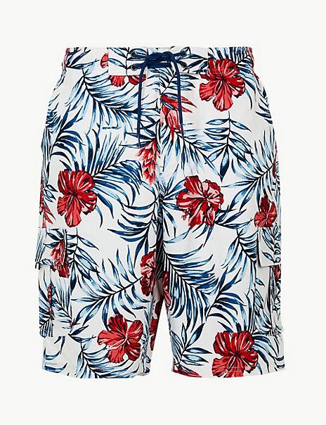 Quick Dry Flower Print Swim Shorts