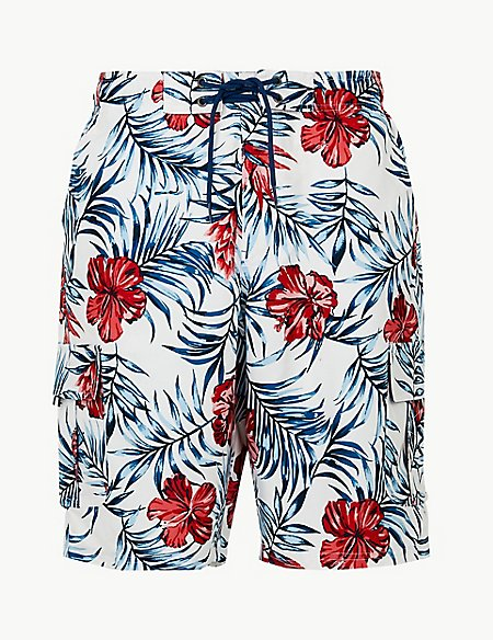 Quick Dry Flower Print Swim Shorts