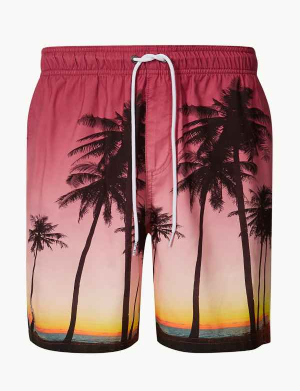 3b9eab28dcd Quick Dry Palm Tree Print Swim Shorts