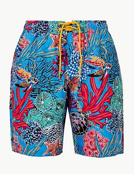 Quick Dry Turtle Print Swim Shorts