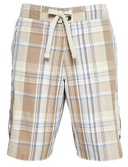Adjustable Waist Checked Swim Shorts