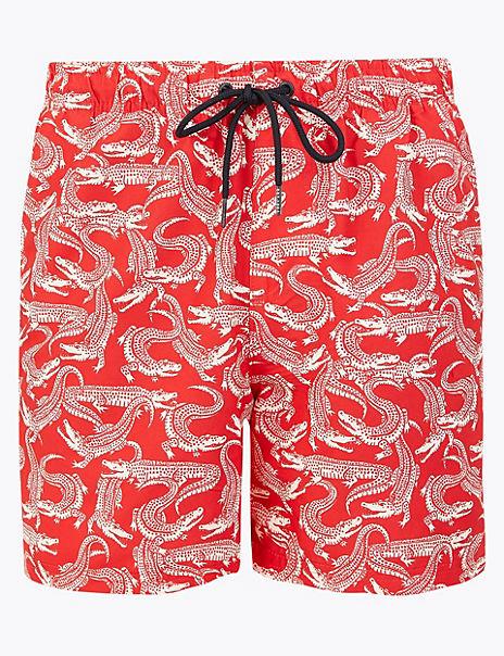 Quick Dry Crocodile Print Swim Shorts