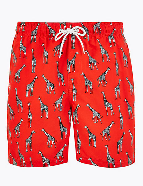 Quick Dry Giraffe Print Swim Shorts