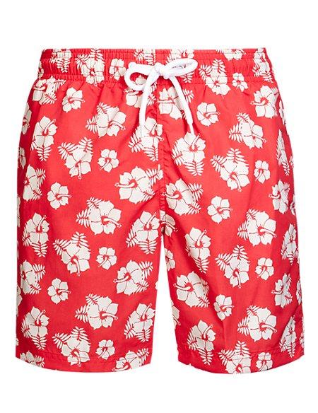 Adjustable Waist Floral Swim Shorts
