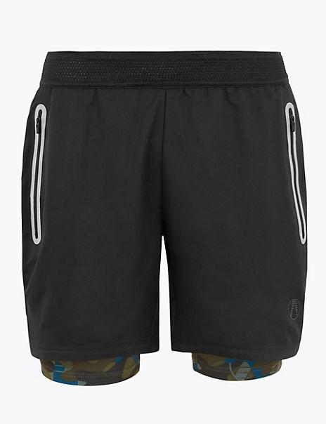 Active Reflective Two Layer Camo Shorts