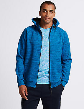 Active Cotton Rich Zip Through Hoody, BLUE MIX, catlanding