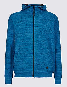 Active Cotton Rich Zip Through Hoody, BLUE MIX, catlanding