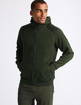 Active Cotton Rich Zip Through Hoody, KHAKI MIX, catlanding