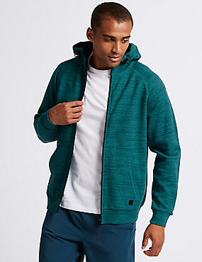 Active Cotton Rich Zip Through Hoody, TEAL MIX, catlanding