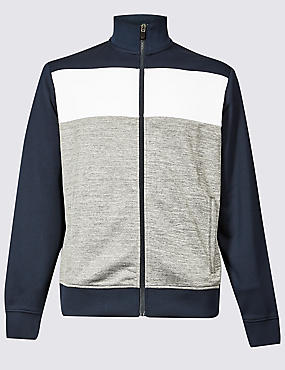 Active Colour Block Zipped Through Top