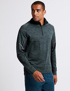 Acitve Slim Fit Textured Zipped Through Top