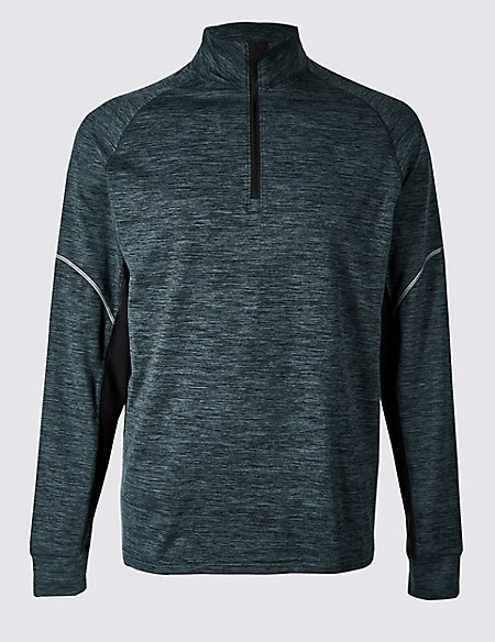 Active Slim Fit Textured Zipped Through Top