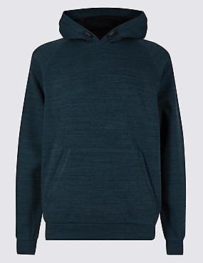 Active Cotton Rich Hooded Top, NAVY MIX, catlanding
