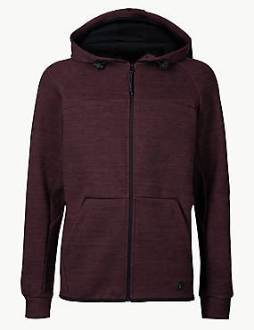 Cotton Rich Zip Through Hoody, , catlanding