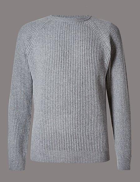 Merino Wool Rich Textured Slim Fit Jumper