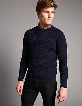 Supima® Cotton Textured Slim Fit Jumper, NAVY, catlanding
