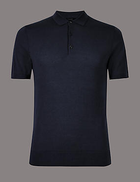 Cotton Blend Textured Slim Fit Polo, NAVY, catlanding