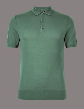 Cotton Blend Textured Slim Fit Polo, GREEN, catlanding