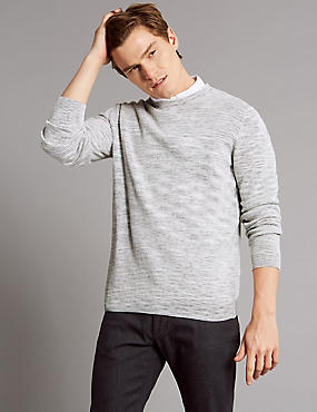 Pure Cotton Textured Slim Fit Jumper, WHITE MIX, catlanding