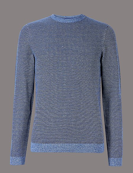 Pure Cotton Textured Slim Fit Jumper