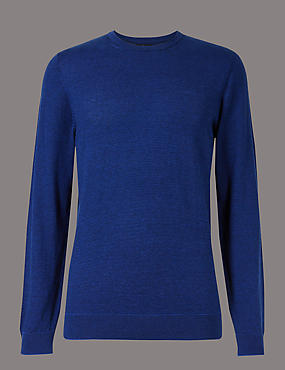 Silk Rich Striped Slim Fit Jumper, COBALT, catlanding
