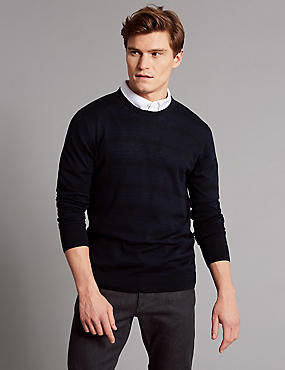Silk Rich Striped Slim Fit Jumper, NAVY MIX, catlanding