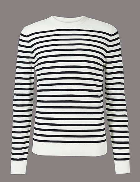 Merino Wool Rich Striped Slim Fit Jumpers