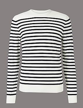 Merino Wool Rich Striped Slim Fit Jumpers, NAVY MIX, catlanding