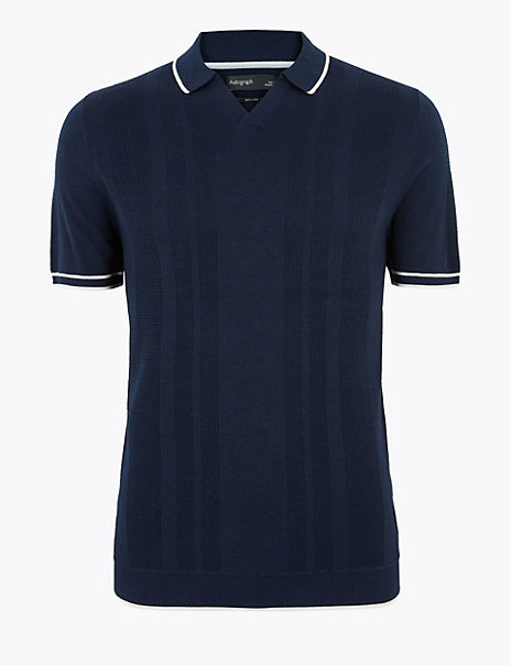 Open V-Neck Knitted Polo Shirt with Silk