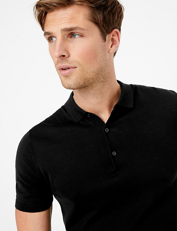 Silk Cotton Knitted Polo Shirt