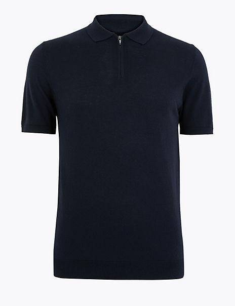 Silk Blend Zip Collar Knitted Polo Shirt