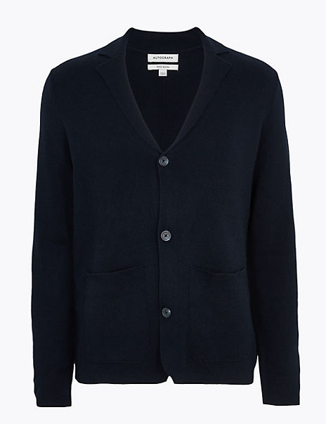 V Neck Cardigan with Wool