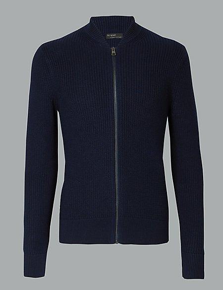 Supima® Cotton Rich Zip Through Cardigan